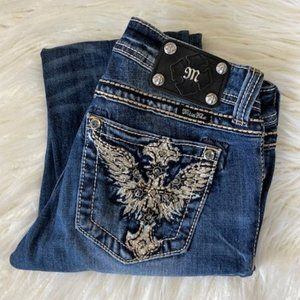 Miss Me blinged crosses distressed skinny jeans